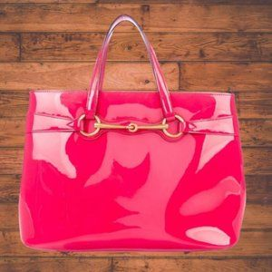 Gucci Shocking Pink Glossy Patent Leather Bit Tote